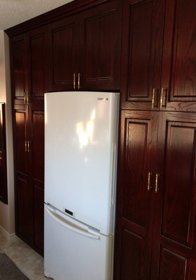 kitchen cabinets, after new fridge height, custom cabinets,